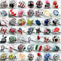 Mescolare i colori sciolto perline in argento placcato argento per i braccialetti europei fai da te per i braccialetti europei fai da te