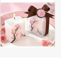 100pcs / lot Bougies De Mariage Fleurs De Cerisier Bougie Bougies Cadeau De Mariage Cire Parfumée Sans Fumée Aromathérapie Décoration