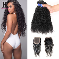 Brazilian Curly Virgin Hair With Closure 4 Bundles With Clos...
