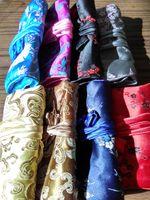Portable pliable bijoux voyage sac de rangement Roll up sac 3 Zipper Soie Brocade pochette cordon dames grand maquillage sac cosmétique 10pcs / lot