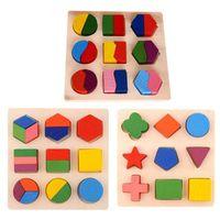 Niños Bebé Aprendizaje de madera Geometría Juguetes educativos Puzzle Montessori Juguetes de aprendizaje temprano