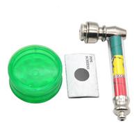 Klassische Jamaika Rasta Blatt Raucher Set: METAL RAUM PIPE + Kunststoff-Tabakmühle +1 Broschüre Metallrohr-Bildschirm Farbe zufällig