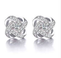 Shinning Crystal Stud Earrings Love Forever Women Jewelry Wh...