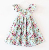 2019 New Girls Dresses Children Cotton Printed Floral Puff S...