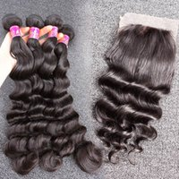 100% Human Hair Wefts with Closure Brazilian Virgin Hair Loo...