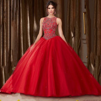 Rote A-Linie Prinzessin High Neck Tulle Asymmetrische Backless Ballkleid Perlen Empire Long Prom Abendkleid