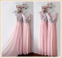 Silber Pailletten Rosa Chiffon Brautjungfernkleider mit V-Ausschnitt zurück Reißverschluss A Line bodenlangen Elegant Günstige Partykleider