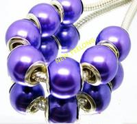 100PCS / Lot schöne purpurrote Farben-nachgemachte Perlen-Silberkernkorne lösen europäisches großes Loch-Acrylcharme-Korne für die Schmucksachen, die niedrigen Preis bilden