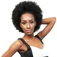Extensions de queue de cheval de cheveux humains brésiliens couleur noire naturelle Afro Kinky Curly Hair 10inch 140g pièce clip-in Top fermeture queue de cheval pour les femmes