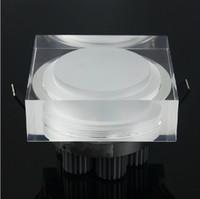 Carré downlight à LED en cristal rond 1W 3W 5W 7W 110-240V encastré au plafond mur lumière spot pour la maison decora cuisine lampes de maison