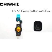 Neuankömmling hochwertige hauptknopf mit flex für iphone 5c lcd ersatz bildschirm ersatzteile echte fotos schwarz farbe erhältlich