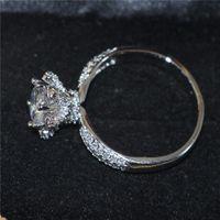 DIY Vintage Lotus Forme 925 Sterling Silver Gemstone Anneau Ensembles Rond Simulé Diamant Zircon Doigts Anneaux De Mariage Bague Bijoux Pour Femmes