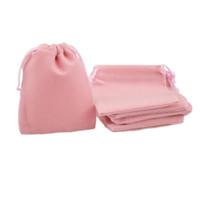المخملية الرباط أكياس هدية الحقائب والمجوهرات الصغيرة عيد الميلاد الزفاف الإحسان حامل مخصص شعار مطبوع الوردي 7x9cm 50pcs الكثير