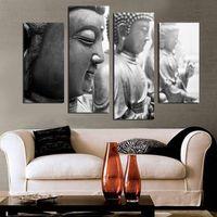 4 pezzo buddha faccia tela pittura home decor wall art per soggiorno no frame f1857