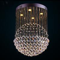 Nouveau Moderne LED K9 Ball Cristal Lustres en verre boule lustre lumière moderne lustre lumières Lustre Balle Clair Plafonnier