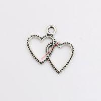 Античный посеребренные двойное сердце подвески подвески для ожерелье ювелирные изделия DIY ручной работы ремесло 24x22mm