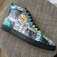 New Mens Womens Colorful Snakeskin Genuine Leather High Top ...