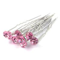 Wholesale - -fashion Jewelery 200pcs 결혼식 신부 핑크 크리스탈 헤어 핀 헤어 액세서리