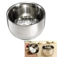 All'ingrosso-Nuovo metallo in acciaio inox Shave Shave Brush Mug Bowl tazza 7,2 centimetri Cup Mat Mug Press