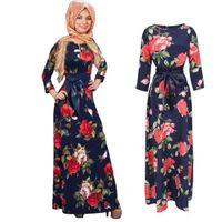 Мода Абая Муслим длинное платье Женщины Исламские джилбабы и абаясы Печать хиджаб Одежда Турецкая одежда Турция Мусульманское платье Модальные платья