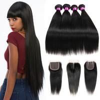 Siyusi منتجات الشعر شعر الإنسان بيرو الهندي الماليزي البرازيلي العذراء مستقيم الشعر 3 4 حزم مع إغلاق