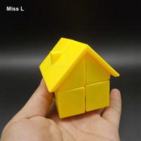 노란 집 플라스틱 마술 큐브 위대한 아이들 교육 트위스트 퍼즐 장난감 전문 선물 아이 아이 교육 장난감