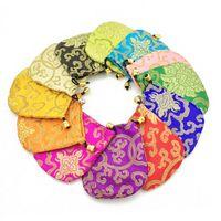Barato Pequeño lazo de regalo bolsa de brocado de seda partido de la joyería de la boda bolsa de té de caramelo almacenamiento por bolsas de tela de embalaje