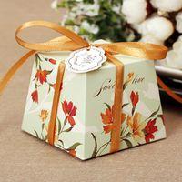 100 قطع الأزهار شبه منحرف الحلوى مربع الزفاف الزفاف لصالح الشوكولاته هدية صناديق فريدة وجميلة تصميم جديد