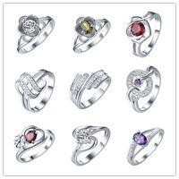 2016 mischte stil zirkon ring 925 silber modeschmuck hochwertigen süßen und romantischen valentinstag geschenk billig großhandel 9pcs / lot