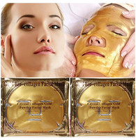 24K Gold Bio-Collagen Facial Mask Mascarilla facial Crystal Gold Powder Collagen Facial Mask Mascarillas hidratantes antienvejecimiento Cáscaras con regalos DHL