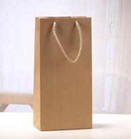 Vinho Tinto Papel Kraft Saco reutilizável único e Duplo Presente Embalagem Champagne Gift Box Bolsas fácil de transportar 0 83sx C R