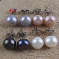 Comercio al por mayor 10 Unids Elegante Plata Brillante Plateado Multi Color Perla de Agua Dulce Lindo Pan Stud Pendientes Para Las Mujeres
