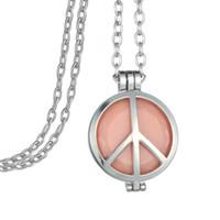 Signo de la paz de plata Locket Colgante Collar Aceite esencial Fragancia Aromaterapia Difusor Fieltro Disco Resplandor en la oscuridad