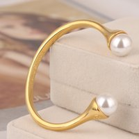Hot sale brass material Opened bangle with pearl 1. 3cm beads...