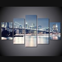 5 Pz / set Incorniciato Stampato brooklyn bridge at night Pittura Tela Stampa room decor manifesto stampa foto su tela Trasporto libero / ny-4519