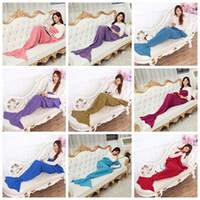 Mermaid Knitted Blankets 140*70cm Kids Mermaid Tail Blankets...