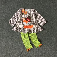 Meninas Halloween pano Kids Rare editions Little Fox imprimir roupas Girl Holiday Clothes 8Sets / lot for 2-8T Hot sale