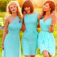 Sexy Vestidos One Shoulde or V - Neck Short Mint Green Chiff...