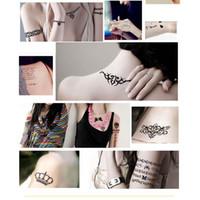 Vente chaude Noir tatuagem Taty Body Art Temporaire Tatouage Autocollants Plume Arc-En-Diamant Paillettes Tatoo Autocollant
