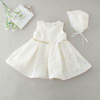 Vestido de princesa para bebés recién nacidos al por menor Vestido de fiesta de bodas de primer cumpleaños de encaje Vestidos de niña pequeña E2088