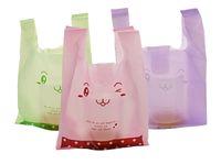Toptan 100 adet / grup 20 * 32 cm HDPE Plastik Alışveriş Torbaları / Süpermarket Yelek / Giyim Promosyon Çanta / Renkli / Gülen Ayı Baskı