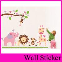 New Pink Bonito ZooYoo Com Árvore Com Jardim de Infância Animal 98 * 115 cm / 38 '' * 45 Removível Adesivos de Parede Fábrica ZooYoo 869
