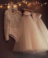 2016 Due pezzi Abiti da sera lungo tutu tulu tulle in tulle in pizzo manica lunga abiti da ballo personalizzati abiti formali modelli abiti da sera festa abiti da sera