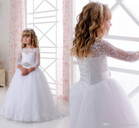 2019 Lace Crystals Half Sleeves Tulle Flower Girl Dresses Vi...