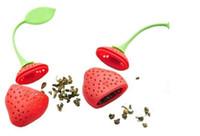 Reutilizable Foof seguro de silicona rojo forma de fresa hoja de té titular de la bolsa té de café filtro de sacador de hierbas infusor de té