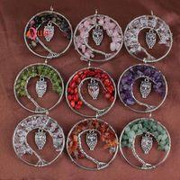Comercio al por mayor 10 Unids Plateado Natural Multi Style Grava Alambre de Bolas de Embutido Emblema Árbol de la Vida Colgante Collar Llamativo