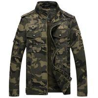 Kamuflaj Erkek Ceketler Pamuk Sonbahar Kış Coat Standı Yaka Rahat Baskı Mont Erkek Giysileri için