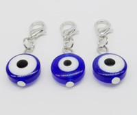 200pcs Turkish Blue Evil Eye Charms lobster Clasp Dangle Cha...