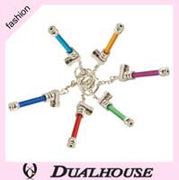 10 pz / lotto colorato catena chiave tubi di fumo in metallo Giamaica Reggae mini portatile aliminum mini tubi di tabacco per erba