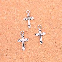Античный посеребренные крест подвески подвески для Европейский браслет ювелирных изделий DIY ручной работы 15*7 мм